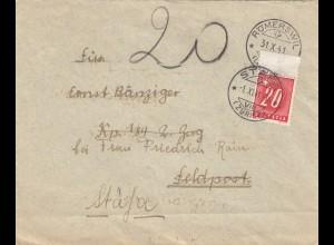 1941: Römerswil als Feldpost - Nachporto Stäfa
