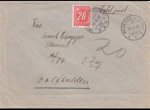 1940: Neukirch als Feldpost - Nachporto Wolfhalden