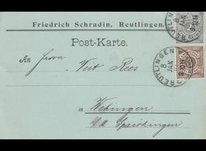 1901: Postkarte Reutlingen nach Wertingen