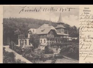 1905: Ansichtskarte Zürich - Waldhaus Dolder nach Tuttlingen