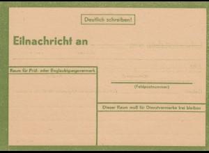 Eilnachricht /Lebenszeichen Postkarte grün, blanko StdW. 4804 43