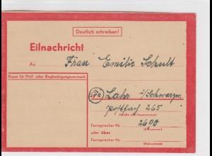 Eilnachricht /Lebenszeichen Postkarte rot, StdW. 4305 43, Karlsruhe nach Lahr