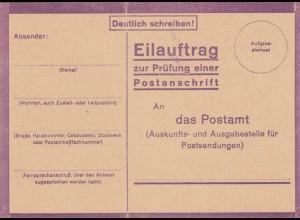 Eilauftrag Prüfung Postanschrift, blanko, StdW. 4306 43