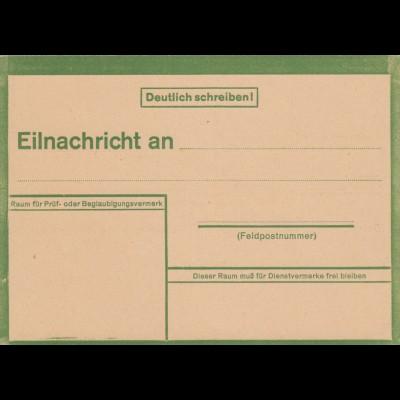 Eilnachricht /Lebenszeichen Postkarte grün, blanko 5431 43 2 D
