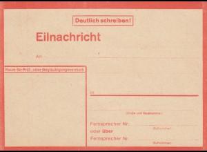 Eilnachricht /Lebenszeichen Postkarte rot, blanko 21400 43 2 D