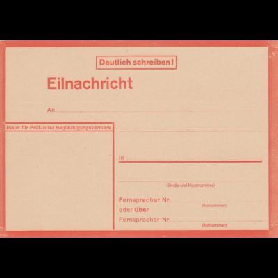 Eilnachricht /Lebenszeichen Postkarte rot, blanko 5431 43 2 D