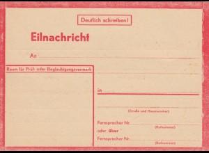 Eilnachricht /Lebenszeichen Postkarte rot, blanko StdW. 4305 43