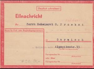 Eilnachricht /Lebenszeichen Postkarte München nach Garmisch 19./20.7.44