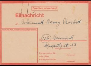 Eilnachricht /Lebenszeichen Postkarte Bremen nach Garmisch, 6.10.44