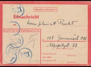 Eilnachricht /Lebenszeichen Postkarte München nach Garmisch, 9.1.45