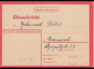 Eilnachricht /Lebenszeichen Postkarte München nach Garmisch, 12.7.44