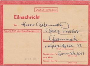 Eilnachricht /Lebenszeichen Postkarte München nach Garmisch, 6.3.45