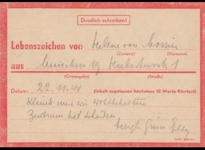 Eilnachricht /Lebenszeichen Postkarte München nach Garmisch 22.11.44