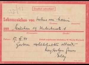 Eilnachricht /Lebenszeichen Postkarte München nach Garmisch 17.11.44