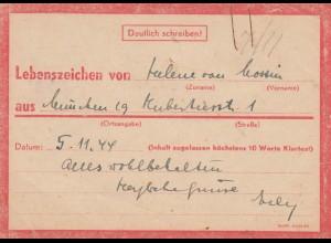 Eilnachricht /Lebenszeichen Postkarte München nach Garmisch 5.11.44