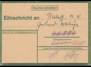 Eilnachricht /Lebenszeichen Postkarte Berlin an FPNr.20288/40804/18593, 28.12.43