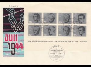 Bonn 20.7.44 mit Widerstandskämpfer Block 1964, FDC