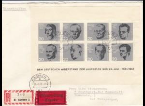 Bonn Einschreiben /Eilbote mit Widerstandskämpfer Block 1964, 25.1.65 Aachen
