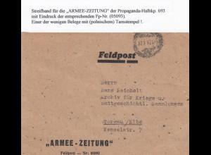 GG: Feldpost Vorderseite Armee-Zeitung FPNr. 05093 nach Torgau poln. Tarnstempel