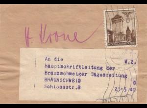 GG Zeitungsdrucksache Streifband Krakau an Braunschweiger Zeitung