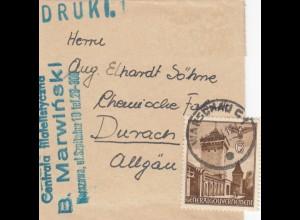 GG kleines Streifband als Drucksache Warschau nach Durach - Chemische Fabrik