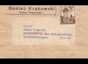 GG Zeitungsstreifband, Drucksache Goniec Krakowski nach Wolfenbüttel