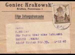 GG Zeitungsstreifband, Drucksache Goniec Krakowski nach Baruth