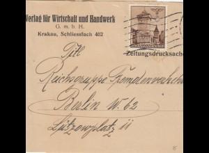 GG Zeitungsstreifband, Drucksache Verlag Wirtschaft/Handwerk Krakau nach Berlin