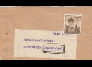 GG Zeitungsstreifband, Drucksache Regierungsforstamt Saarbrücken - Sudetenland