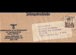 GG Zeitungsstreifband, Vorderseite Verordnungsblatt für das GG, nach Duisburg