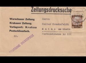 GG Zeitungsstreifband, Krakauer Zeitung nach Mainz 16.12.39