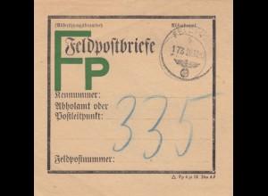 GG Formular: Feldpostbrief Bundzettel 20.12.43 Lemberg an FPNR. 335 Russland