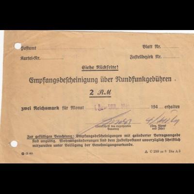 Empfangsbescheinigung über Rundfunkgebühren Oberschleßien 2 RM 1941