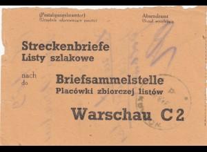 GG Formular Streckenbriefe nach Briefsammelstelle Warschau C2