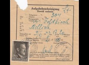 GG Formular seltener Aufgabeschein DPO 377 zu 12 (4.41) Petrikau, Telegramm