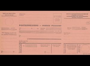 GG Formular Postanweisung - Abschnitt, blanko, DPO 216 (3.41)