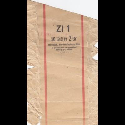 GG: Generalgouvernement: 1943 Banderole für 1 Zloty mit 50 Münzen a 2 Gr.