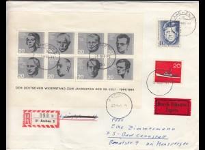 Widerstandskämpfer Block 1964, Eilbote/Einschreiben Aachen nach Bad Cannstatt