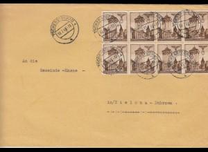 GG Tschenstochau mit schöner MeF 6x auf Brief nach Zielona/Dabrowa, portogerecht