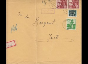 GG Einschreiben Rowne/Dukla an Bergamt Jaslo, portogerecht 2. Gew. Stufe, MiF