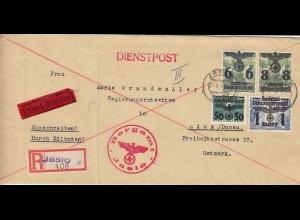 GG Einschreiben Eilbote Jaslo, nach Linz, portogerechte seltene MiF