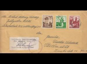 GG Feldpost - Paket Adressteil, portogerechte 40 Gr. MiF FPNr. 03085 nach Berlin
