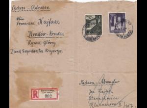 GG Paket-Adressteil als Einschreiben Starachowice nach Krakau, portogerechte MiF