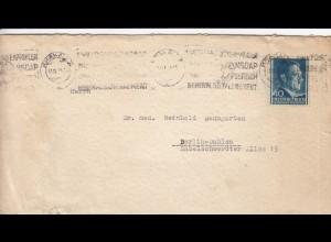 GG Brief mit 40 Gr. Adolf EF von Krakau nach Berlin