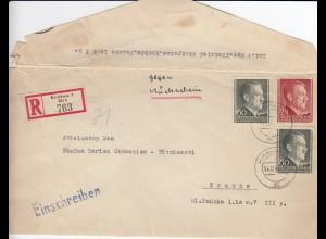 GG R-Brief Krakau, Rückschein !!!, portogerechte MiF mit Briefinhalt