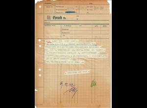 GG Formular: Telegramm Luftwaffe Feldpostbauleitung SELTENES FORMULAR