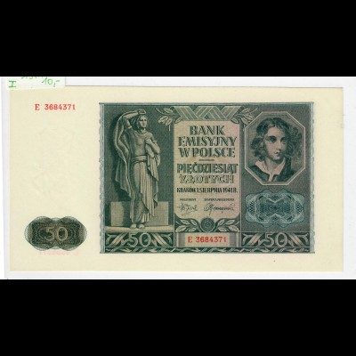 Generalgouvernement - GG - Schein 50 Zloty 1941, sehr gute Erhaltung