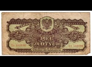 Generalgouvernement - GG - Geldschein 1944 nach dem GG - Polen: 1. Geld 5 Zloty
