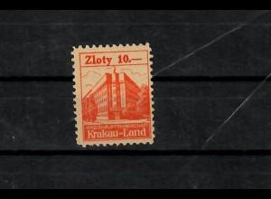 Generalgouvernement GG: 10 Zloty Stadtgebührenmarke Krakau Land, **