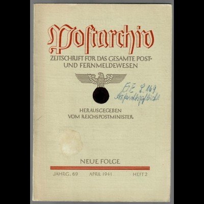 Postarchiv: Band 69, 1941, Heft 2, gebunden, Themen siehe Beschreibung